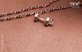 Кулоны для спортсменов серебряные. Гантеля - символ любимого вида спорта. #RXj