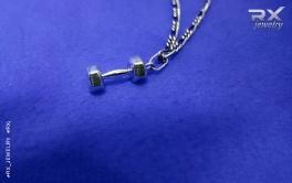 Украшение в виде гантели. Кулоны для спортсменов серебряные. #RX_Jewelry
