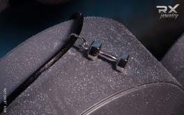 Украшение в виде серебряной гантели. Спортивные аксессуары на шею. #RX_Jewelry