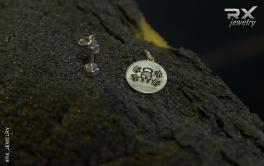 Спортивные сувениры из серебра. Кулон гантеля в подарочной упаковке. #RX_Jewelry