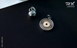 Спортивные сувениры из серебра. Кулон гиря 24кг и диск от штанги 15кг. #RXj