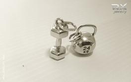 Подвеска в виде гири. Спортивный серебряный кулон. #RX_Jewelry