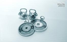 Серебряные подвески. Гиря 24кг, блины от штанги 25кг и 15 кг. #RXj #RX_Jewelry