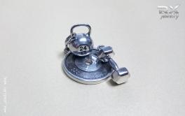 Гиря 24 с гантелькой и диском штанги 25кг из серебра. #RXj #RX_Jewelry