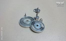 Кулоны блины от штанги и серебряная гантелька. Спортивные украшения. #RXj #RX_Jewelry