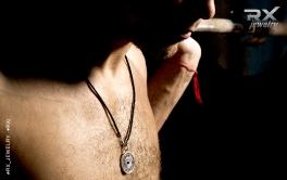 Кулон серебряный диск штанги 25кг. На кожаном шнурке с серебряным карабином. Фитнес подарки.   #RXj #RX_Jewelry
