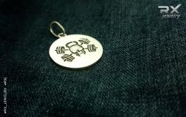 Подвеска кулон Роджер с гантелями. Спортивные аксессуары из серебра для атлетов.  #RX_Jewelry #RXj