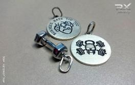 CrossFit подарочные аксессуары. Медальоны Бурпи и Роджер. Подвеска серебряная гантель.. #RX_Jewelry #RXj