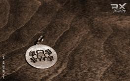 Фитнес кулон медаль Веселый Роджер. Sterling Silver. Родиевое чернение. В подарок спортсмену. #RX_Jewelry #RXj
